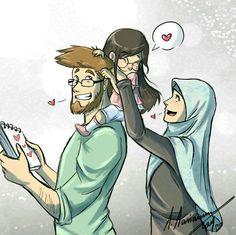 the 3 of us n__n by madimar on deviantART Cute Muslim Couples, Muslim Girls, Cute Couples, Muslim Women, Islam Marriage, Islamic Cartoon, Muslim Family, Anime Muslim, Hijab Cartoon