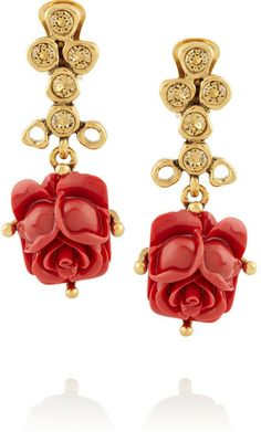 Oscar de la Renta Gold-plated crystal and resin rose drop earrings on shopstyle.com