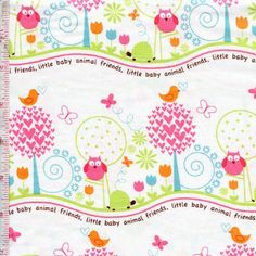 Animal Friends in Girl by Michael Miller Fabrics Fabric Shack, Baby Friends, Baby E, Michael Miller Fabric, Novelty Fabric, Little Babies, Baby Animals, Sewing Patterns, Outdoor Blanket