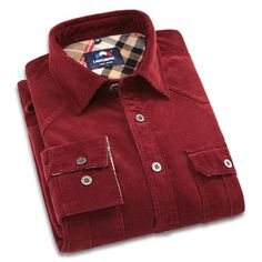 New Fashion Spring Corduroy Shirt Men Casual Shirts Mens Long Sleeve Slim Fit Clothes Cotton Camisa Masculina