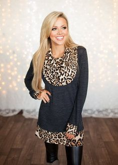 Love Me in Leopard Cowl Neck Tunic Charcoal