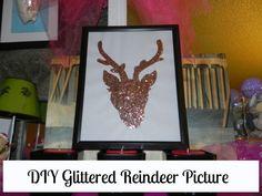 DIY Glittered Reindeer Picture