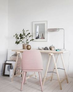 Scandinavian home office with pastel accents - Metallic Home Accessories #homedecoraccessories