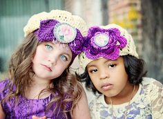 Girls Crochet Cloche Hat Purple Flower Shabby by MaineCoonCrafts, $28.00