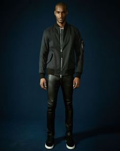 Twill Army Bomber Jacket, Basic Jersey Tee & Stretch-Leather Skinny Pants by Helmut Lang at Neiman Marcus.