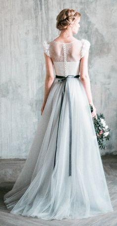 Neva - romantic grey wedding dress, tulle a-line