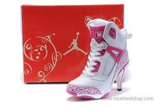 Cheap Women Nike Air Jordan Spizike Heels White Pink For Sale