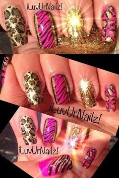 Hot Pink, Black & Gold with Glitter