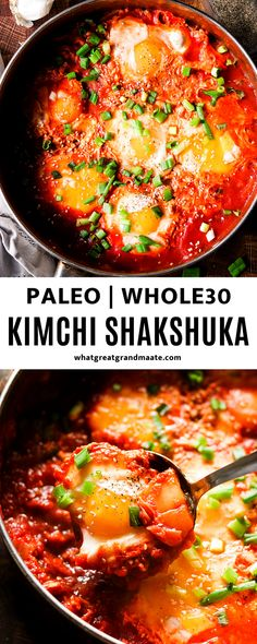 Delicious and healthy shakshuka recipe with a twist using kimchi! You'll love the Korean flavors that meld together with this classic Middle Eastern and North African dish. Paleo & Whole30 friendly! #koreanfood #kimchi #shakshuka #fusionrecipe #paleo #whole30 #whole30breakfast Whole 30 Breakfast, Paleo Breakfast, Breakfast Recipes, How To Make Shakshuka, Shakshuka Recipes, Kimchi Recipe, Asian Recipes, Ethnic Recipes, Fusion Food