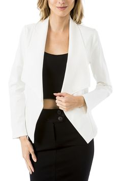 Drape Collar Jacket - White