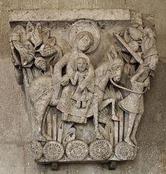 Flight into Egypt - Cathédrale Saint-Lazare d'Autun Romanesque Sculpture, Romanesque Art, Religious Architecture, Church Architecture, Christian Artwork, European Paintings, Medieval Art, Gothic Art, Sacred Art