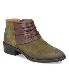 Do I have to choose between Olive and Maroon? Digging these! Sofft Olive Corliss Suede Ankle Boot #zulilyfinds