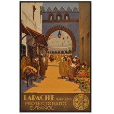 Marruecos Protectorado Espanol - Original Vintage Travel Poster for Larache in Morocco by the Spanish Painter Mariano Bertuchi | From a unique collection of antique and modern posters at http://www.1stdibs.com/furniture/wall-decorations/posters/