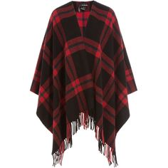 The Kooples Checked Wool Cape ($150) ❤ liked on Polyvore featuring outerwear, multicolor, wool cape coat, black and red cape, the kooples, cape coat and wool cape