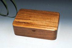 Zebrawood on Walnut -  Handmade Wooden Stash Box - a Guy Favorite - USA Made by BurlWoodBox -Small Wood Box Jewelry Box Wooden Jewelry box by BurlWoodBox