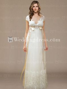 Lace Cap Sleeves Wedding Dress with Ribbons BC400