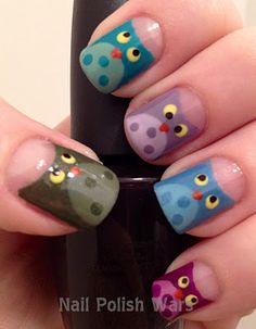 Owl nails... Oh, Ms. Christine.. My pinterest stalker.. I know how much you like owls, thought of you when I saw these.