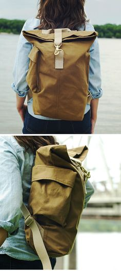 Elegant and simple canvas bag.  Love some of the fine detailing.
