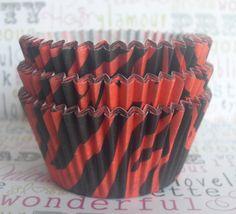 Red Zebra Tiger Stripe Cupcake Liners Baking by BakersBlingShop, $4.25