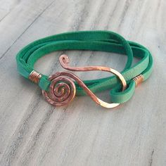 Image result for Leather Wrap Bracelet in Turquoise with Spiral Clasp - Hammered Copper Bracelet