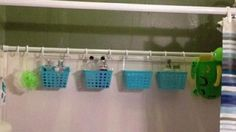 If you have tons of bottles in the shower, you can easily organize them by simply adding another shower rod. Hang small baskets from the shower rod to keep shampoo and conditioner as well as shaving supplies, bath sponges and soaps off the shower wall.