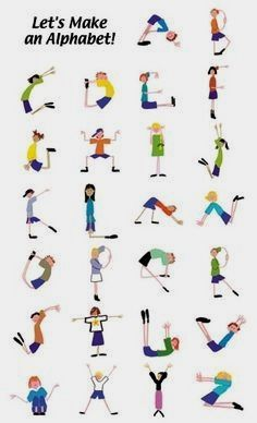 alphabet yoga for kids * alphabet yoga for kids + alphabet yoga for kids free printable + alphabet yoga for kids gross motor + alphabet yoga for kids letters + alphabet yoga poses for kids + kids alphabet yoga Poses Yoga Enfants, Kids Yoga Poses, Yoga For Kids, Exercise For Kids, Gross Motor Activities, Gross Motor Skills, Movement Activities, Alphabet Activities, Preschool Activities