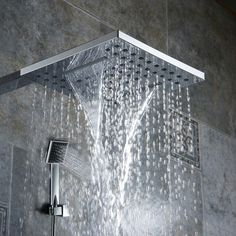 becola bathroom 8 inch shower nozzle pressure Rain type Handheld shower Waterfall type shower head and shower arm is excellent designs, futuristic and Shower Faucet, Waterfall Shower, Wall Waterfall, Bad Styling, Shower Arm, Rain Shower, Dream Bathrooms, Vintage Bathrooms, Luxury Houses