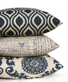 Blue Tan Pillow. Decorative Throw Pillows. Blue Gray. Suzani. ONE 20 x 20 .Printed Fabric both sides. Dark Blue Cream  Cushion Cover