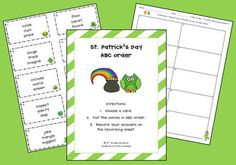 St. Patty's Day - ABC Order    -  Pinned by @PediaStaff – Please Visit http://ht.ly/63sNt for all our pediatric therapy pins