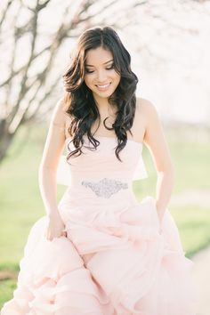 Blush pink wedding dress - Los Angeles Engagement shoot by Honey Honey Photography