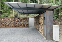 anthony pellecchia utilizes steel, concrete, & wood in villa lucy carport: