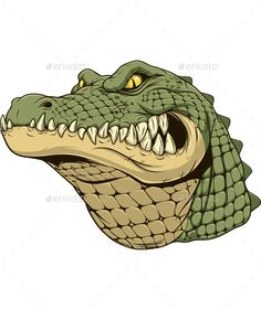 Illustration of Vector illustration, a ferocious alligator head on a white background. vector art, clipart and stock vectors. Vector Graphics, Vector Art, Crocodile Illustration, Shark Logo, Military Drawings, Desenho Tattoo, Purebred Dogs, Animal Drawings, Graphic Illustration