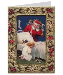 Christmas Wishes Holly and Mistletoe 3-D Christmas Card ~ England