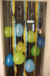 Birthday Doorway: ruffled streamers and balloons | Getting Some Fun Out of Life