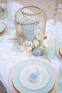 A turquoise, beach reception. For beautiful wedding dresses go to www.emmahunt.co.uk
