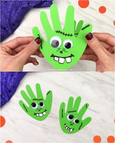 Make this cute and fun handprint zombie craft with the kids this October. Its a fun Halloween activity fo - - Make this cute and fun handprint zombie craft with the kids this October. Its a fun Halloween activity for young childre Zombie Crafts, Halloween Crafts For Toddlers, Toddler Halloween, Halloween Preschool Activities, Halloween Arts And Crafts, Family Halloween, Craft Activities For Kids, Literacy Activities, Kids Crafts