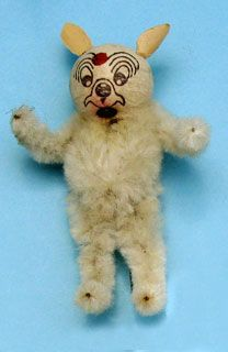 Vintage Christmas Ornament: Cat with cotton head and chenille body, metal pin in his back instead of a loop.