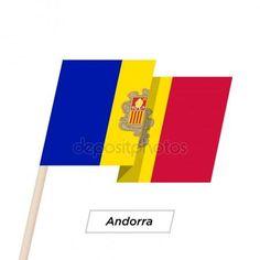 Andorra cinta ondeando la bandera de aislados en blanco. Ilustración de vector Ilustración De Stock