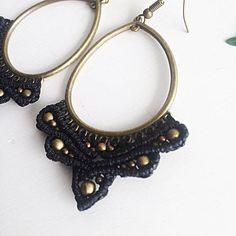 Macrame earrings DIY black macrame earrings bronze macrame