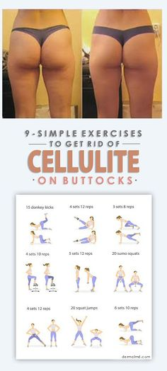 Exercise With the help of the diagrams, we have shared the most important exercises which you need to do so as to have a cellulite free body. So start doing them from today and in 2 weeks only have a cellulite free body. Fitness Workouts, Butt Workout, Easy Workouts, Cellulite Exercises, Cellulite Workout, Reduce Cellulite, Yoga Routine, Workout Routines, Workout Plans