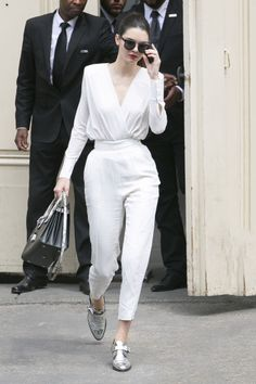 Elegant white surplice blouse & high waisted trouser with silver oxfords and black accessories~