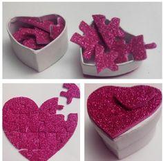Caja sorpresa para San Valentin: puzzle de corazón con goma eva