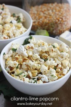 Cilantro-Lime Popcorn @Cassandra Dowman Guild Laemmli   Bake Your Day...make it vegan by using melted coconut oil in replace of the butter
