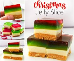 The BEST Christmas Jelly Slice recipe! Both regular and Thermomix instructions included. Xmas Food, Christmas Cooking, Christmas Desserts, Christmas Treats, Christmas Recipes, Christmas Parties, Christmas Time, Christmas Lunch Ideas, Christmas Foods