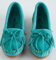Bright blue moccasins