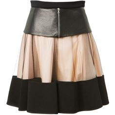 David Koma Paneled Skater Skirt (36.260 CZK) ❤ liked on Polyvore featuring skirts, skater skirt, leather zipper skirt, leather skirt, circle skirt and leather ruffle skirt