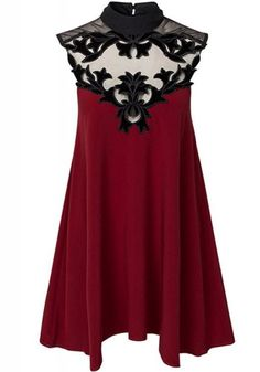 Wine Red Patchwork Grenadine Cut Out Band Collar Dress