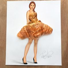 Still remember the illustration of food dressing created by American artist Edgar Artis? Edgar continue his exploration of blending fashion illustration with Fashion Design Drawings, Fashion Sketches, Fashion Illustrations, Funky Dresses, Pretty Dresses, Mode 3d, 3d Fashion, Dress Fashion, Illustration Mode
