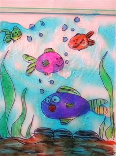 from Chocolate Muffin Tree Plastic Bag Aquarium: made from ziplocks, sharpies, and blue hair gel Ocean Theme Crafts, Ocean Themes, Drawing For Kids, Art For Kids, Drawing Ideas, Under The Sea Crafts, Kindergarten Art, Camping Crafts, Kid Crafts