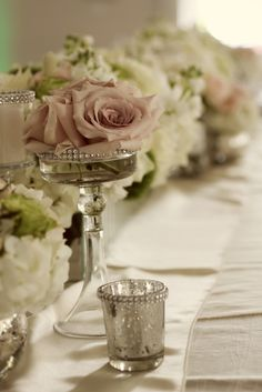 Soft pink and cream Tablescape.../